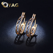 Woman Luxury Gold Color Hoop Earrings Paved with AAA Austrian Cubic Zirconia Female Vintage Jewelry Statement