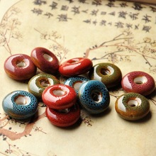 10pcs/lot Round Flower Glaze Ceramic Bead Porcelain Flat DIY Beads for Necklace Keyring Bracelet Jewelry Making  Accessories