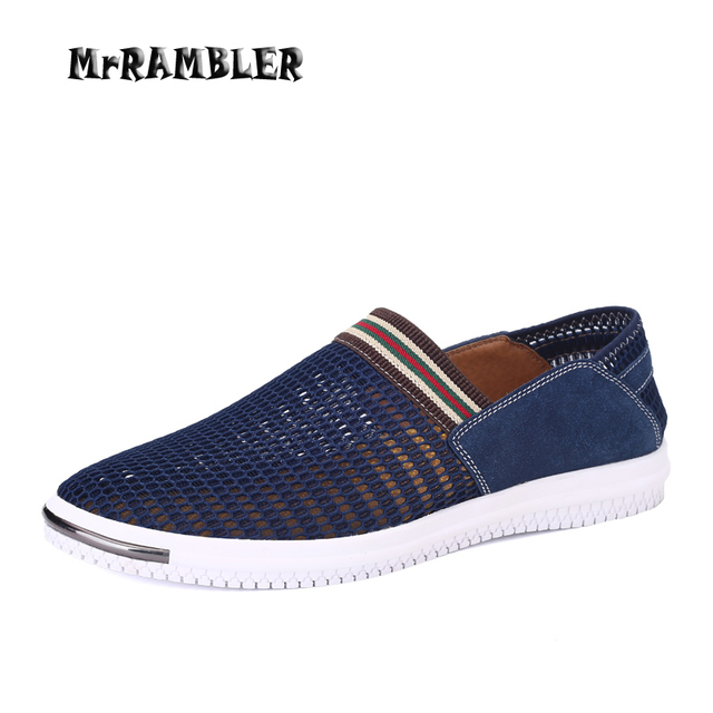 New Men Summer Shoes Breathable Air Mesh Casual Shoes For Men Slip On Loafer Navy Flat Soft Comfort Match Zapatos Hombre