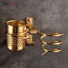 New Golden hair dryer rack with cup drier comb holde Households Rack Hair Blow Dryer Holder Aluminum Shelf Bathroom Accessories