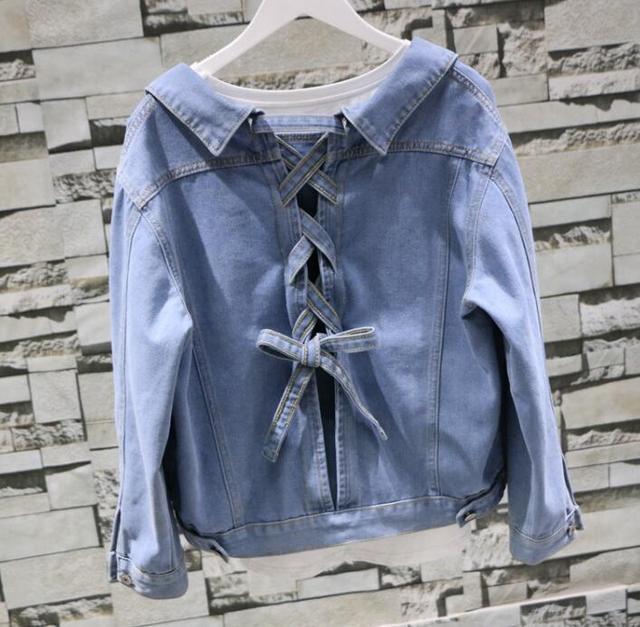 1e4dd6d1620 Womens Girls Light Blue Denim Jeans Jacket Lace Up Back Single Buttons  Casual Coat Short Bowknot