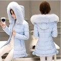 2016 algodão-acolchoado roupas de inverno nova edição han cultivar a moralidade cabelo pesado levou lâmpada longa jaqueta vestido de algodão