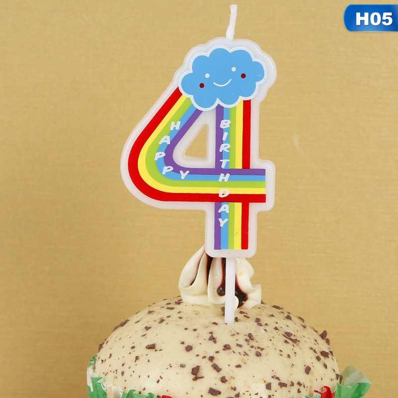 Happy Birthday Candle Cake Cupcake Topper Cartoon Rainbow Number Candles Decoration Wedding Anniversary Party Supplies