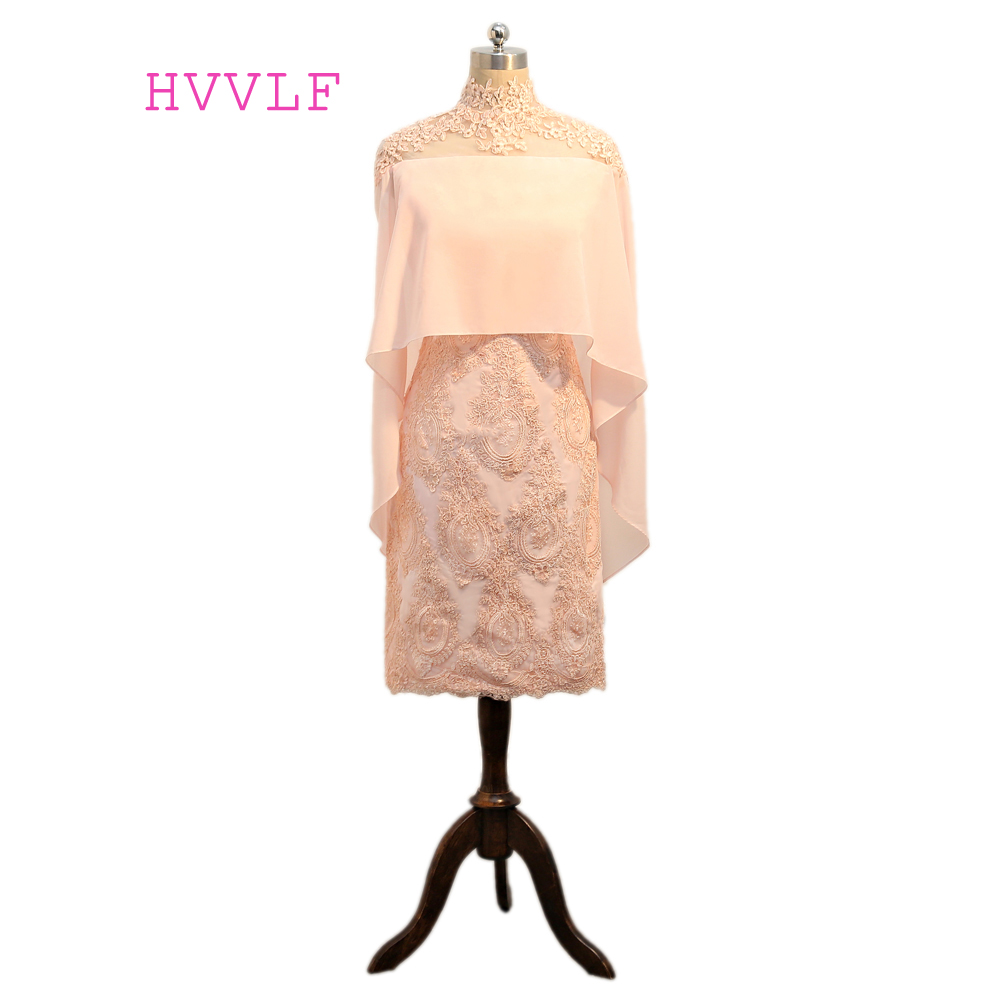 Pink 2019 Elegant Cocktail Dresses Sheath High Collar Knee Length Chiffon Appliques Lace See Through Sexy Homecoming Dresses