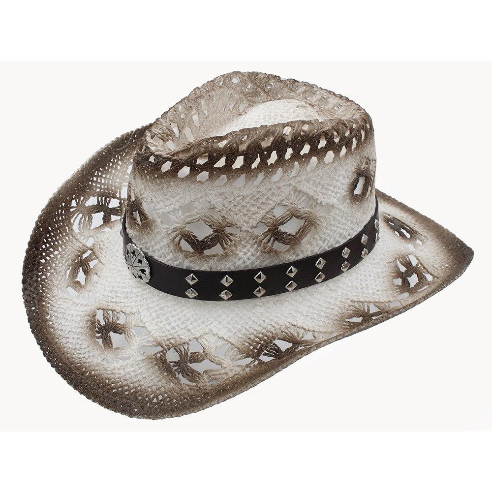 Women Men Western Cowboy Hat 100% Straw Handmade Weave Lady Gentleman Beach Sun Sombrero Cowgirl Hat Size 58CM