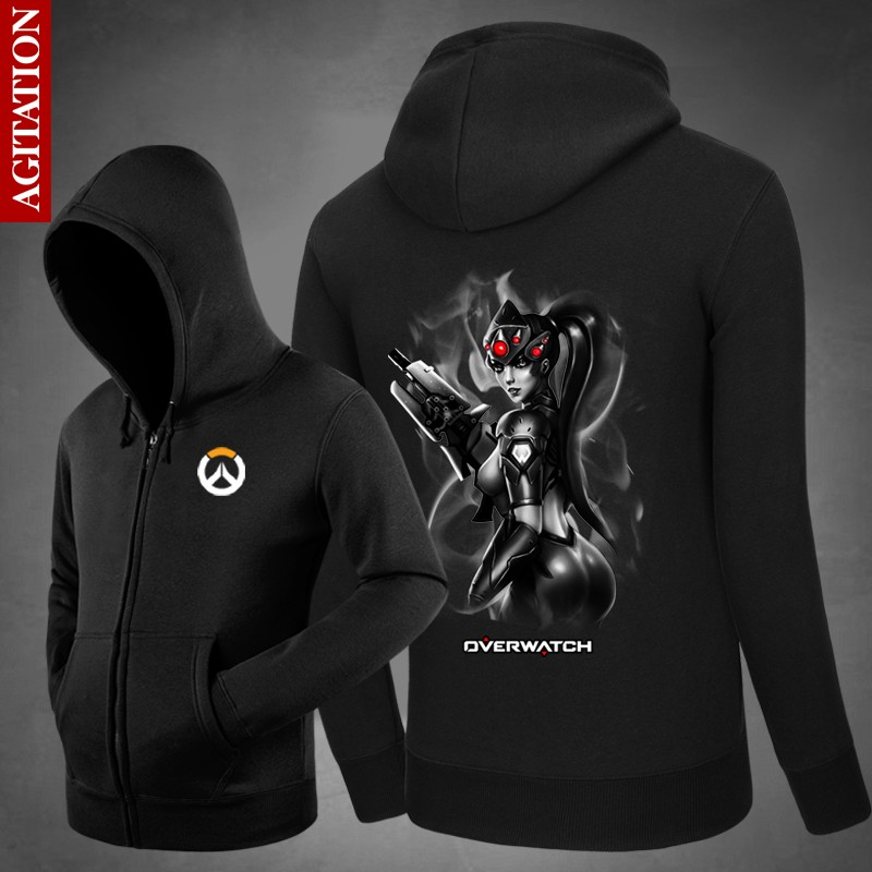 Watch Over Game OW Hoodies Men Women Black Sweatshirts Winter Fleece Widowmaker Cosplay Jackets Oversized Hoodies For Boys 3XL