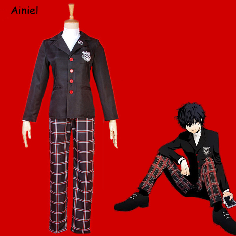 Ainme Game Persona 5 Ren Amamiya Cosplay Costume Coat Men Akira Kurusu Jacket Pants Halloween Women