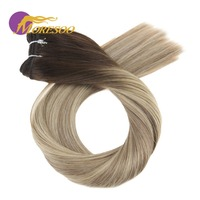 Moresoo Ombre Hair Weft 100G Blonde Human Hair Bundles Brazilian Hair Full Head Set Hair Extensions
