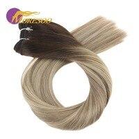 Moresoo Ombre Hair Weft 100G Blonde Human Hair Bundles Brazilian Hair Full Head Set Hair Extensions
