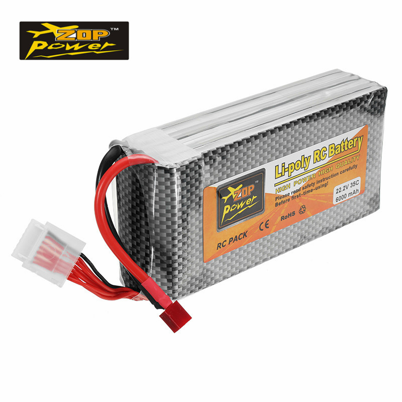 High Quality ZOP Power 22.2V <font><b>6000mAh</b></font> 35C <font><b>6S</b></font> Rechargeable <font><b>Lipo</b></font> Battery T Plug for RC Model Helicopter RC Drone FPV Racer Parts image