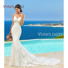 Vivian's Bridal Multi Layers Mermaid Wedding Dress Beaded Sequin Lace V Neck Sleeveless Backless Wedding Gown WD55017