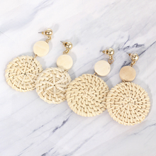 Bohemia Handmade Wooden Rattan Knit Hanging Earrings For Women Fashion Boho Round Disc Long Drop Earrings Jewelry Accessories