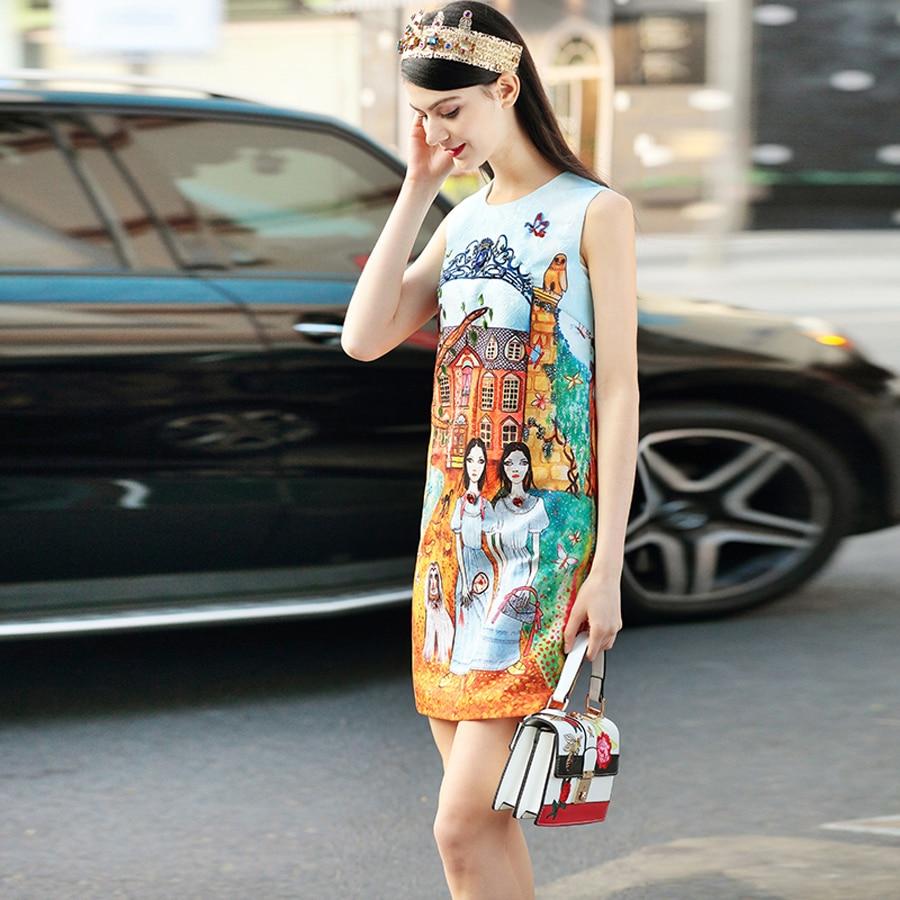Mode Nouveauté Château Coloré As Haute Nouveau 2019 Robe Femme De Et Vintage Robes Spéciale Réservoir Fille Impression Mini Qualité Jeune Offre Printemps Photo UWw1wH0x