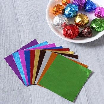 Conjunto de 100 unidades de papel para paquete de costura de dulces y Chocolate, 10 colores, papel de aluminio 8011 de calidad alimentaria, herramientas para hornear artesanías DIY