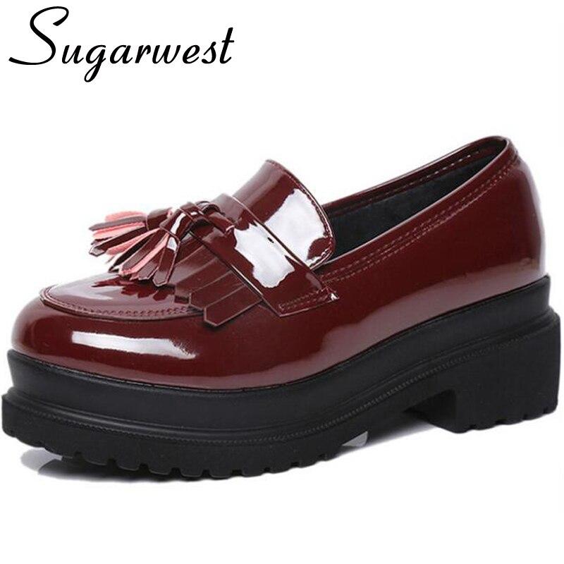 Sugarwest 2017 Fashion Tassel Oxford Shoes Women British Style Flats All Match Brogue Shoes