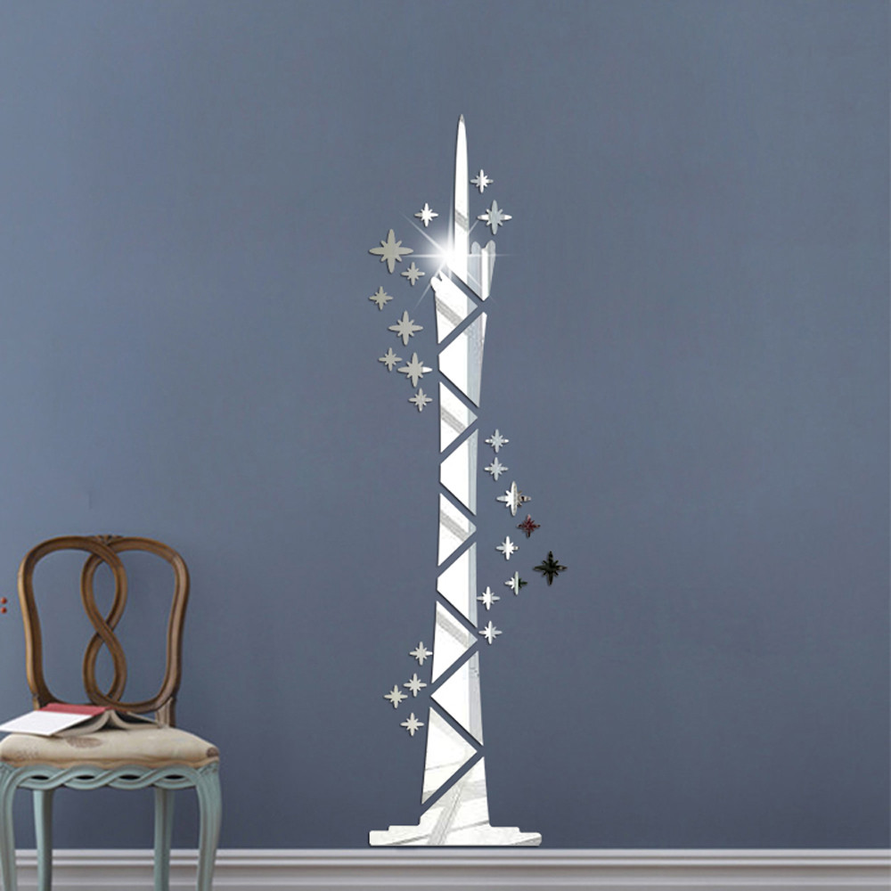 3D Mirror Tower Vinyl DIY Removable Wall Sticker Decal Art Wall Stickers Living Room Bedroom Home Dcor Wallpaper#1