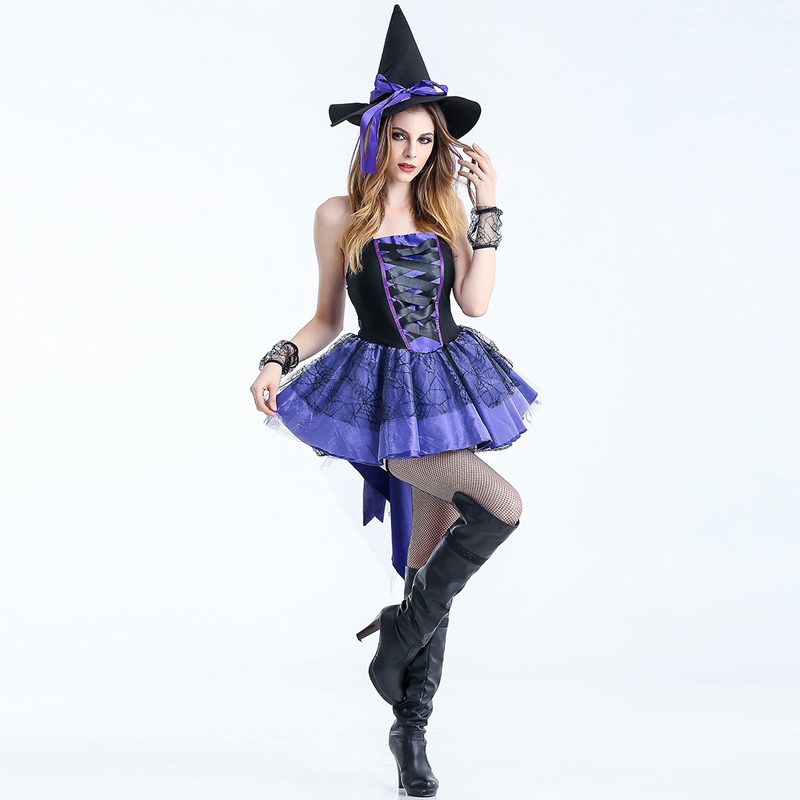 S-XXL New Sexy Purple Woman Witch For Halloween Costume Devil Fancy Dress Carnival Party Club Magican Adult Cosplay Clothing