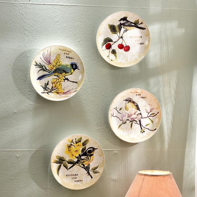 Modern Creative Bird Flower Decorative Wall Dishes Porcelain Decorative Plates Vintage Home Decor Crafts & Modern Creative Bird Flower Decorative Wall Dishes Porcelain ...