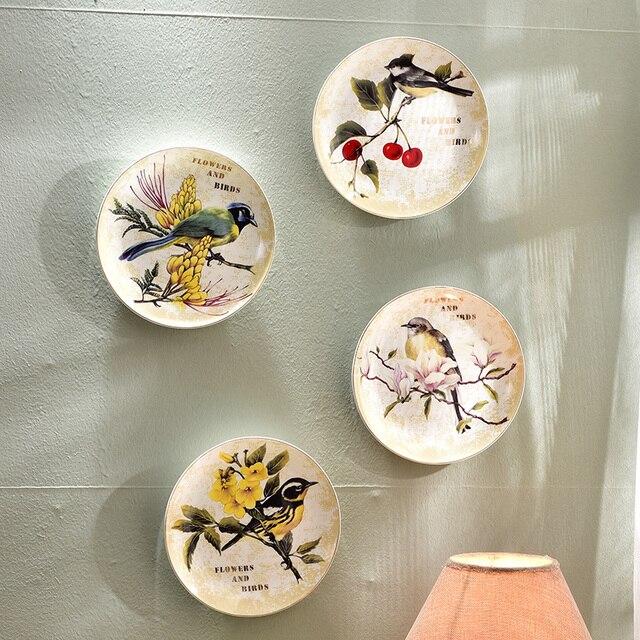 Moderne Creative Oiseau Fleur Décoratif Mur Plats Porcelaine ...