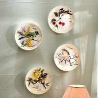 Moderne créatif oiseau fleur décorative plats muraux porcelaine assiettes décoratives Vintage décor à la maison artisanat