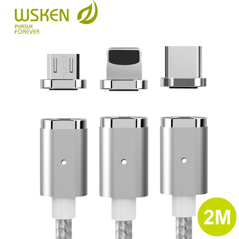 WSKEN Mini <font><b>2</b></font> USB Type C Micro USB Magnetic Charger Cable Fast Charging for Samsung galaxy S9 S8 Huawei for iPhone USB-C Cable image