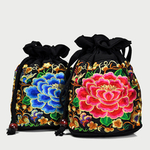 2018 Small Drawstring Bucket  Bags Double Face Embroidery Crossbody Bag Boho Thai Embroidered Drawstring Messenger Shoulder Bag double tassel drawstring crossbody bag