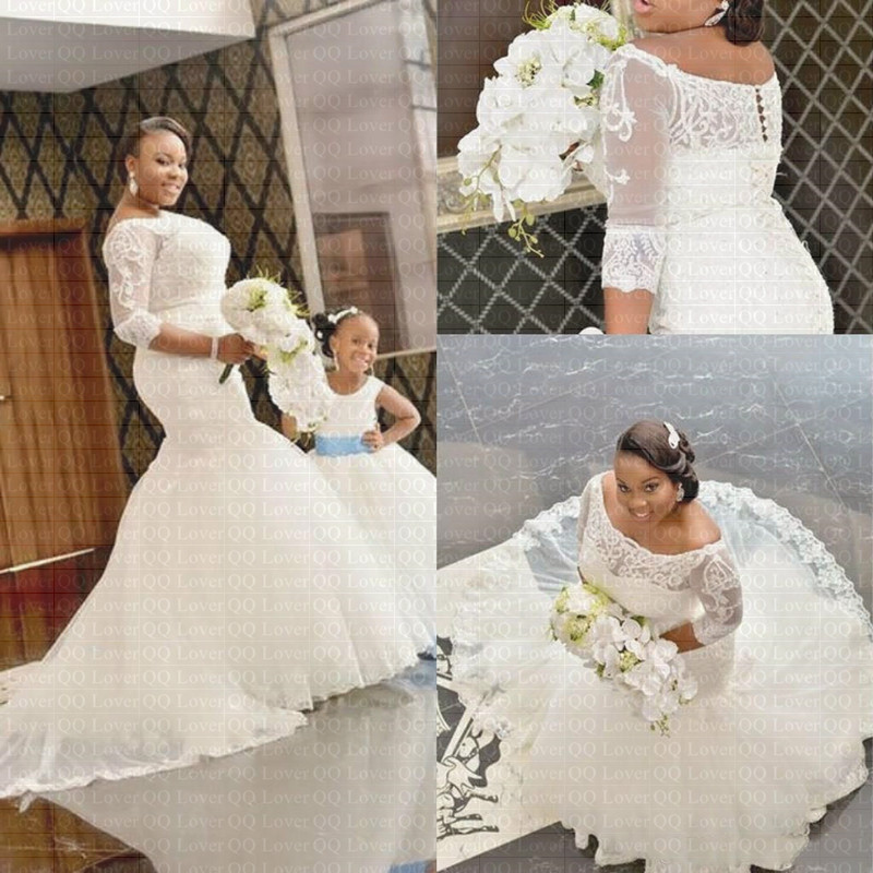 2019 New African Amazing Backless Lace Mermaid Wedding Dress Plus Size Half Sleeves Bridal Gown Wedding Gowns