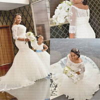 2020 New African Amazing Backless Lace Mermaid Wedding Dress Plus Size Half Sleeves Bridal Gown Wedding Gowns