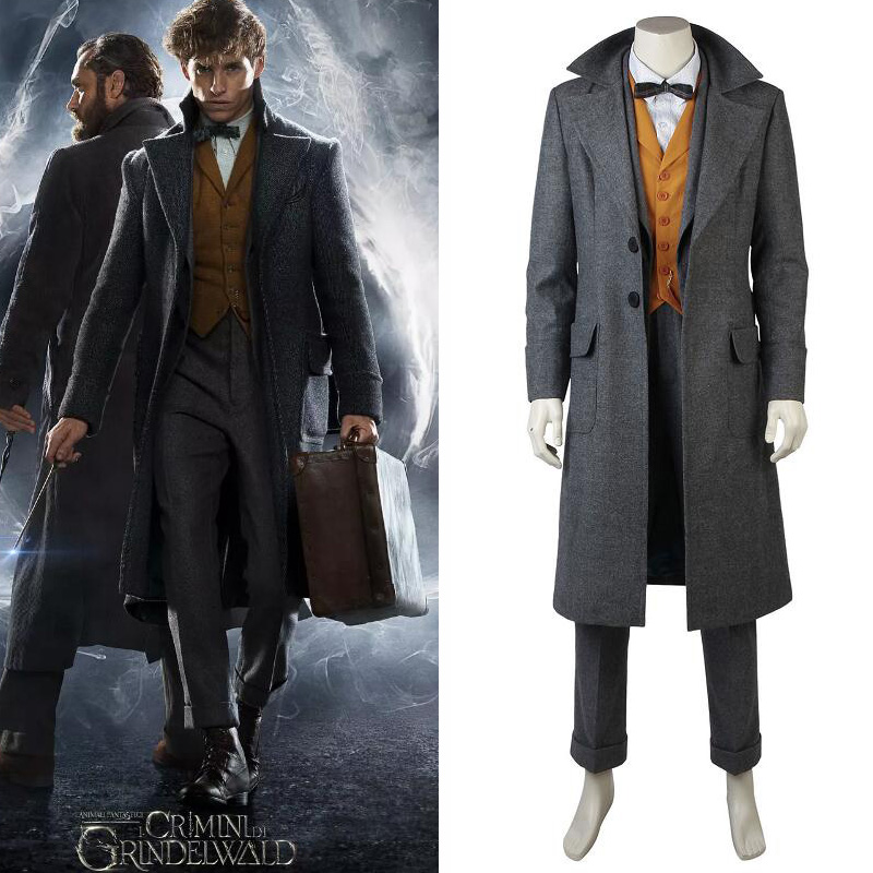 Fantastic BeastsThe Crimes of Grindelwald Cosplay Newt Scamande Costume Overcoat Full Suit Outfit Custom Made for Adult Men