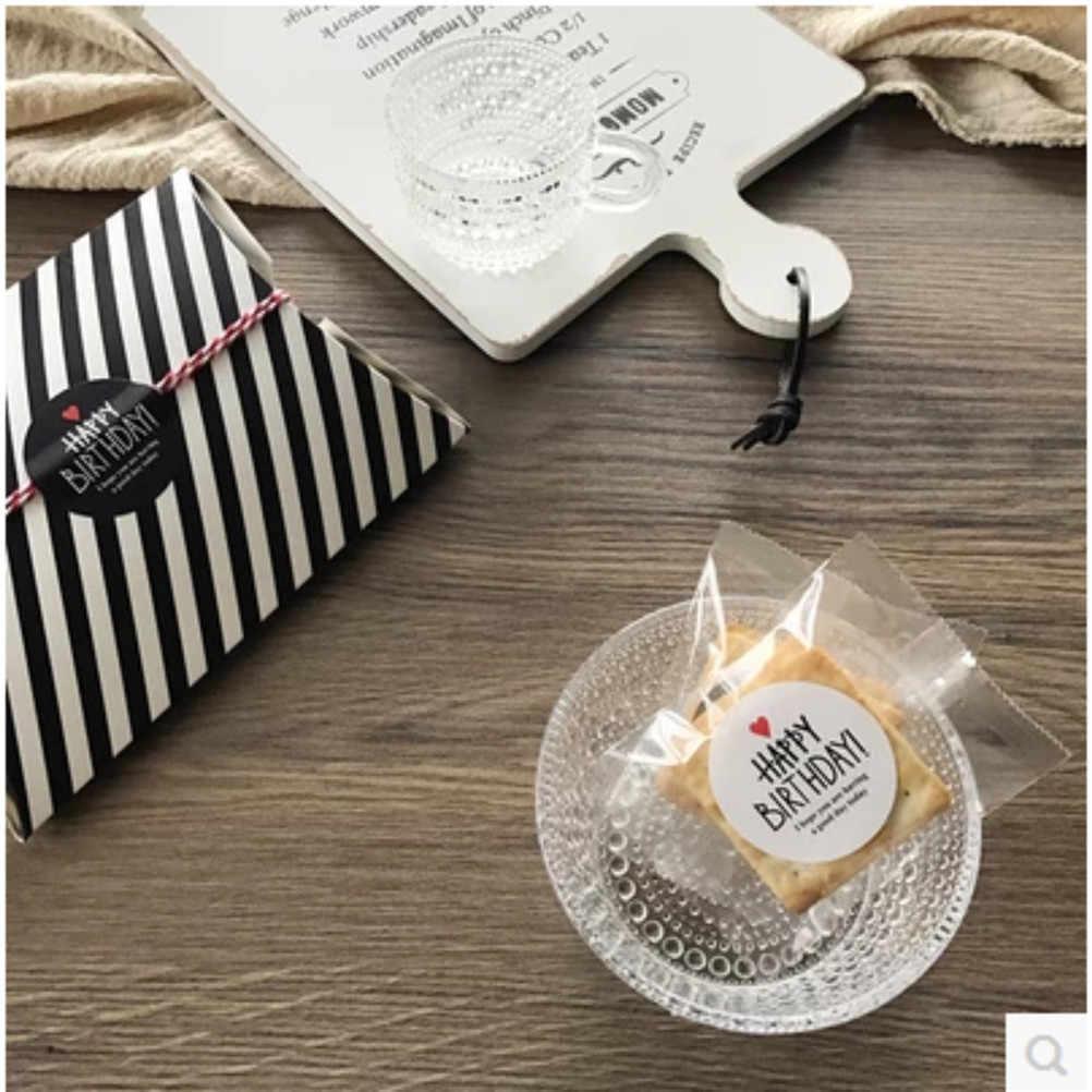 80 шт./10 листов черно-белая самоклеющаяся бумага печать наклейка для выпечки Подарочная этикетка наклейка s HAPPY BIRTHDAY Series