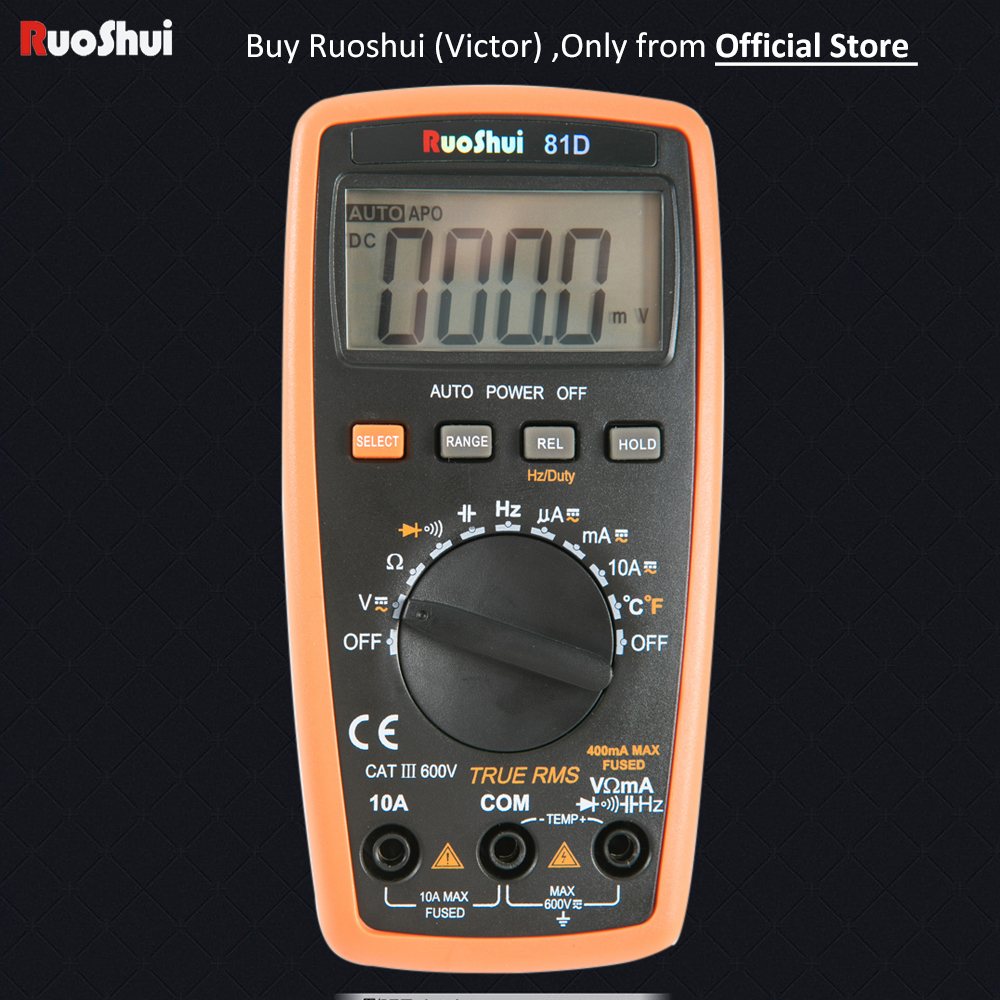 81D Victor RuoShui Multimetro Digitale 4000 Counsts Auto Range Vero RMS Resistenza Capacità Frequenza Temperatura Multimetro