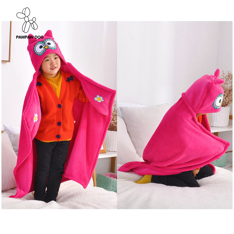 Cute Animal Shape Blanket Coral Fleece Plaids Children Hooded Throws Blankets For Kids Wearable Towel Travel Plaids