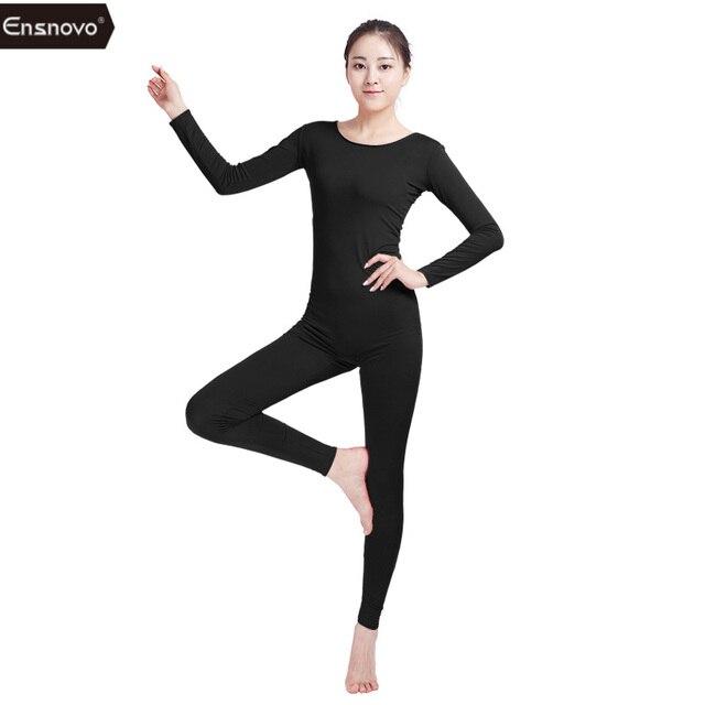 Ensnovo Womens Spandex Bodysuit Long Sleeve Yoga Unitard for Girl Gymnastics  Dance Ballet Costume Bodysuits for Women Black Suit c42d6317368e