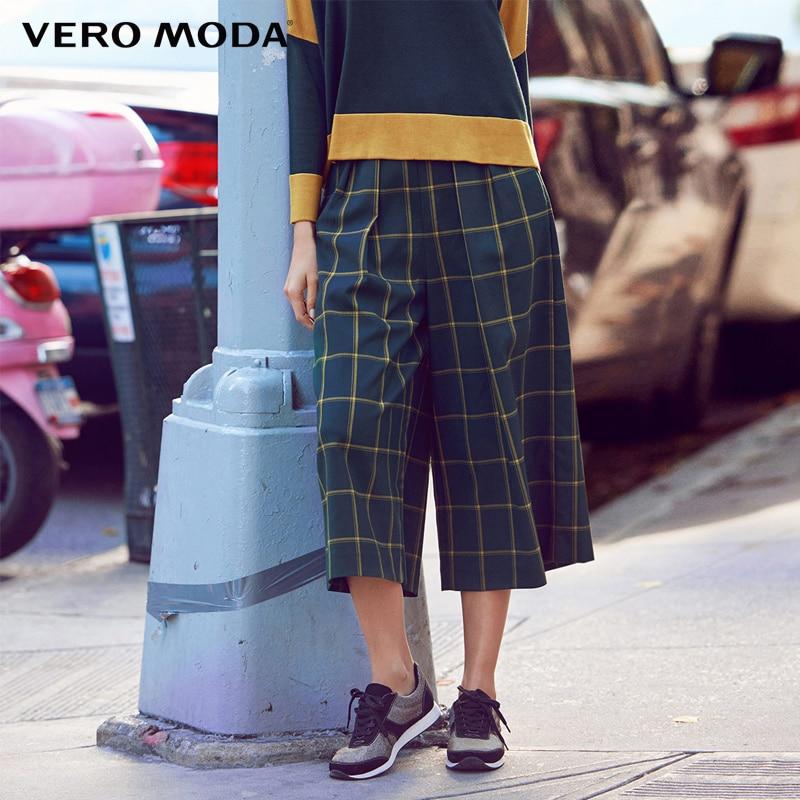Vero moda Marca 2019 NOVA três quartos calças regulares OL-estilo bolso lateral com zíper xadrez das mulheres calças perna larga | 31616J007
