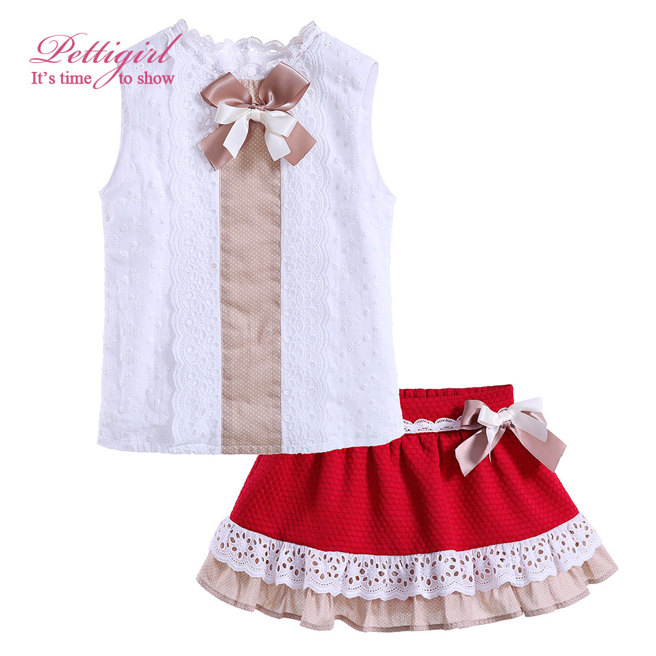 ФОТО Pettigirl Girls Summer Clothes Set Kids White Top and Girl Lace Red Skirt with Bow Children Suits Clothing Set Retail