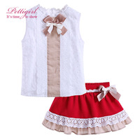 Girls Summer Clothes Set Kids White Top And Girl Lace Red Skirt With Bow Children Suits