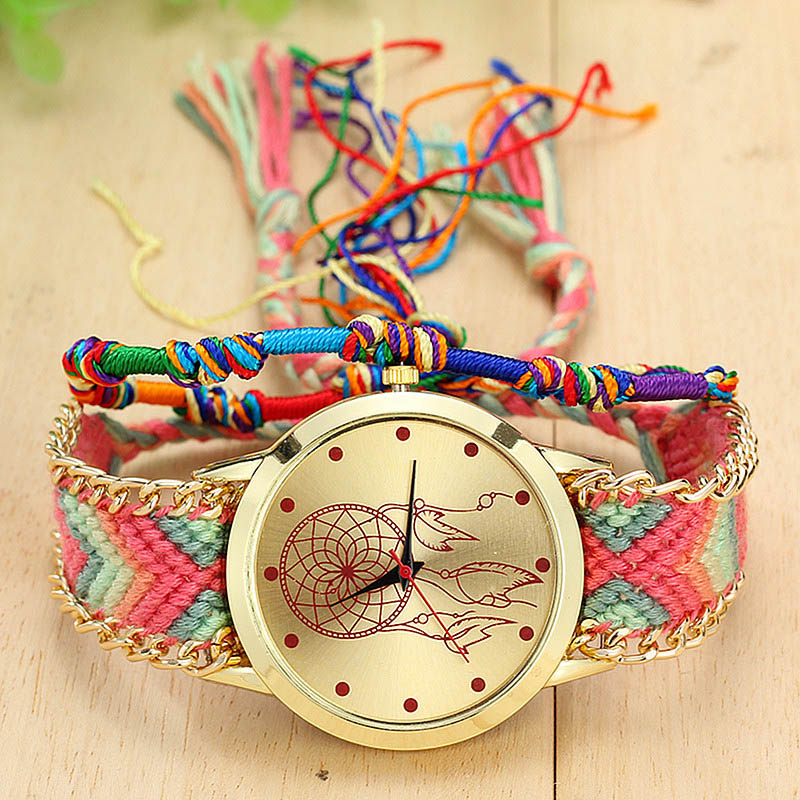Vintage Women Ethnic Handmade Braided Quartz Watch Knitted Dreamcatcher Wristwatch Gifts LXH