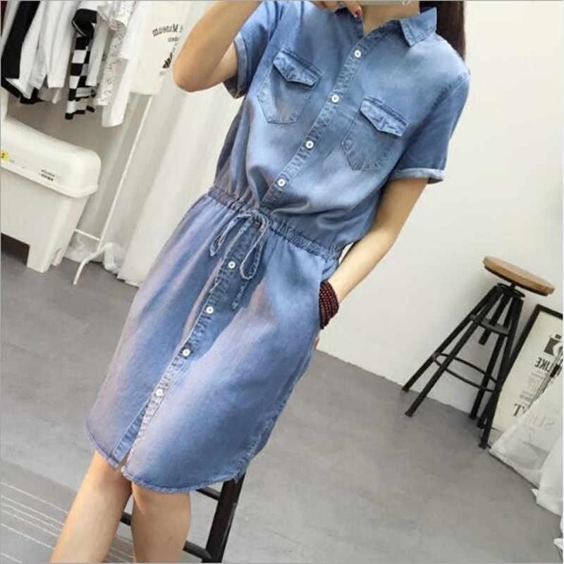 2019 новые летние джинсовые платья для женщин модные рубашки с коротким рукавом женские джинсовые платья QV64