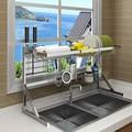 64/84 cm de secagem de aço Inoxidável tigela pia escorredor camada rack de armazenamento de cozinha rack de suprimentos 2 piscina colocar prato rack de armário