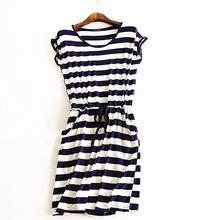 New style summer dress Casual Stripe women summer dress tank sleeveless dresses casual solid color cheap clothes china