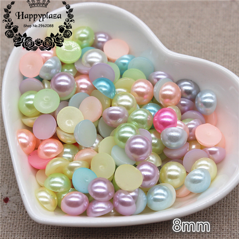 200pcs <font><b>8mm</b></font> Mix Light Colors Resin ABS Half Round Imitation Pearl Beads(No Hole) Cabochon DIY Jewlelry/Phone/Laptop Decoration image