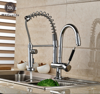 Chrome Finished Deck Mount Brass Pull Down Kitchen Mixer Faucet Spring Dual Spout Kitchen Water Taps