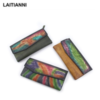 New Arrival Women Wallets Natural Leather Rainbow Bifold Lady Purses Multi function Cloud Handmade Female Card Wallets