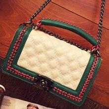 Новое прибытие дизайн одежды цепи Ватные шить цвет вязать кожа pu женщин сумка сумки сумка повседневная кошелек