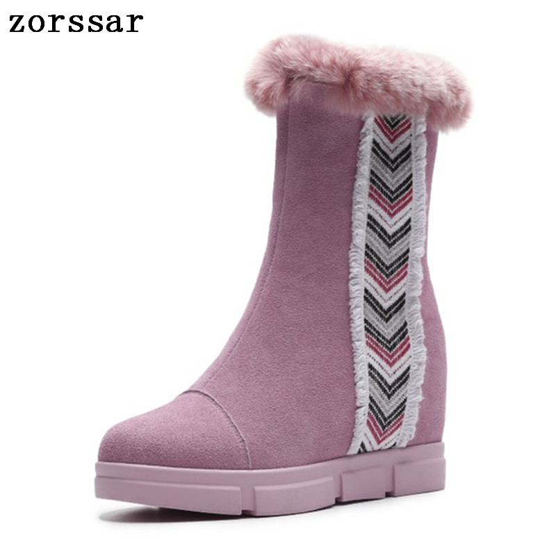 Zorssar 2018 Winter Warm plush Women Shoes Woman Snow Boots Ankle Platform Wedge boots Fashion suede Ladies Boot Pink FootwearZorssar 2018 Winter Warm plush Women Shoes Woman Snow Boots Ankle Platform Wedge boots Fashion suede Ladies Boot Pink Footwear