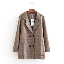 England Style Blazer Women Spring Autumn Coats Plus Size 5XL Double Breasted Plaid Blazers Outerwear KKFY2666