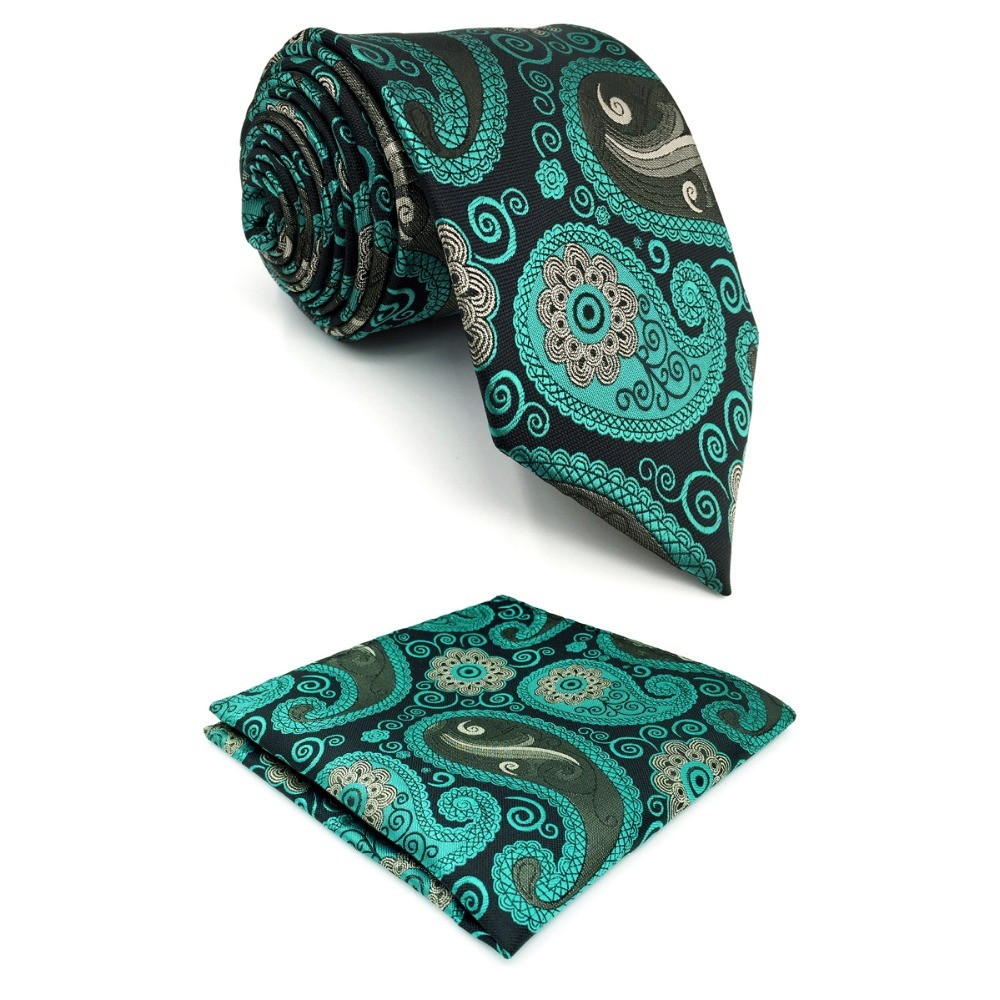 D1 Paisley Multicolor Mens Necktie Classic Wedding Extra long size 63 Silk Novelty Hanky Dress Ties for male