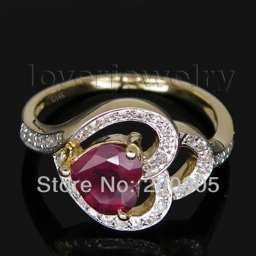 Solid 14Kt Yellow Gold Heart Rubi Ring,Natural Diamond Engagement Ruby Ring Heart 6mm For Sale SR0021 rubi rubi ru008awgxq29