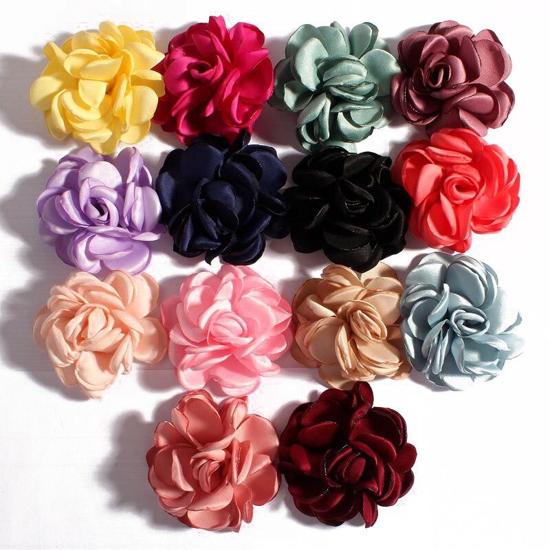 20pcs/lot 6CM 14Colors Vintage Boutique Flatback Artificial Soft Grilled Fabric Flowers For Children Headbands Hair Accessories