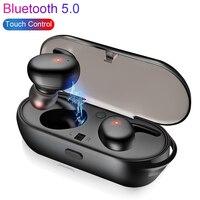 Overfly Bluetooth наушники 5,0 мини СПЦ беспроводной гарнитура Touch Управление Спорт ухо стерео беспроводные с загрузочной коробки